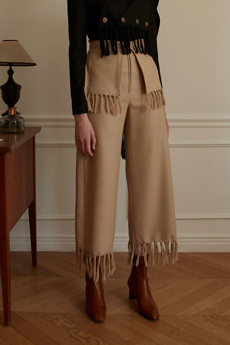 Fringed Layer Wool Trousers