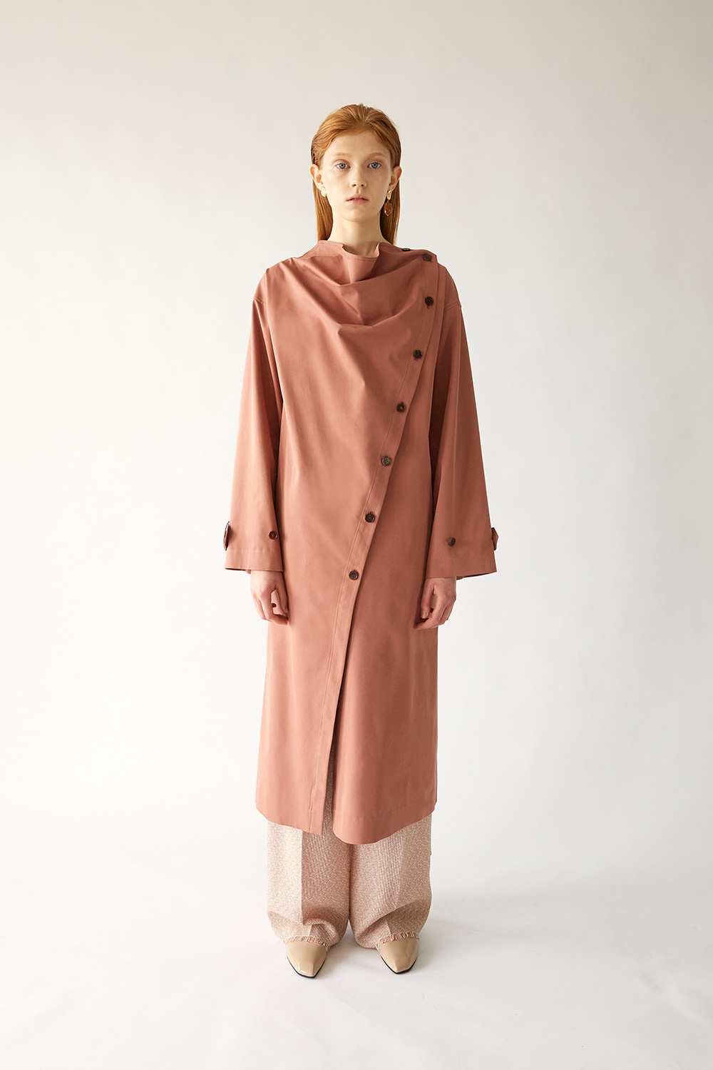 SS19 COWL NECK COTTON TRENCH (BRICK)