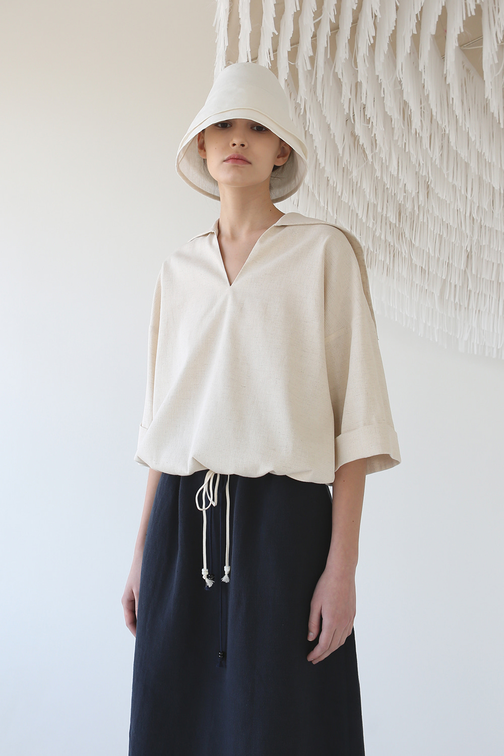 20SS SAILOR DRAWSTRING LINEN BLOUSE (NATURAL BEIGE)