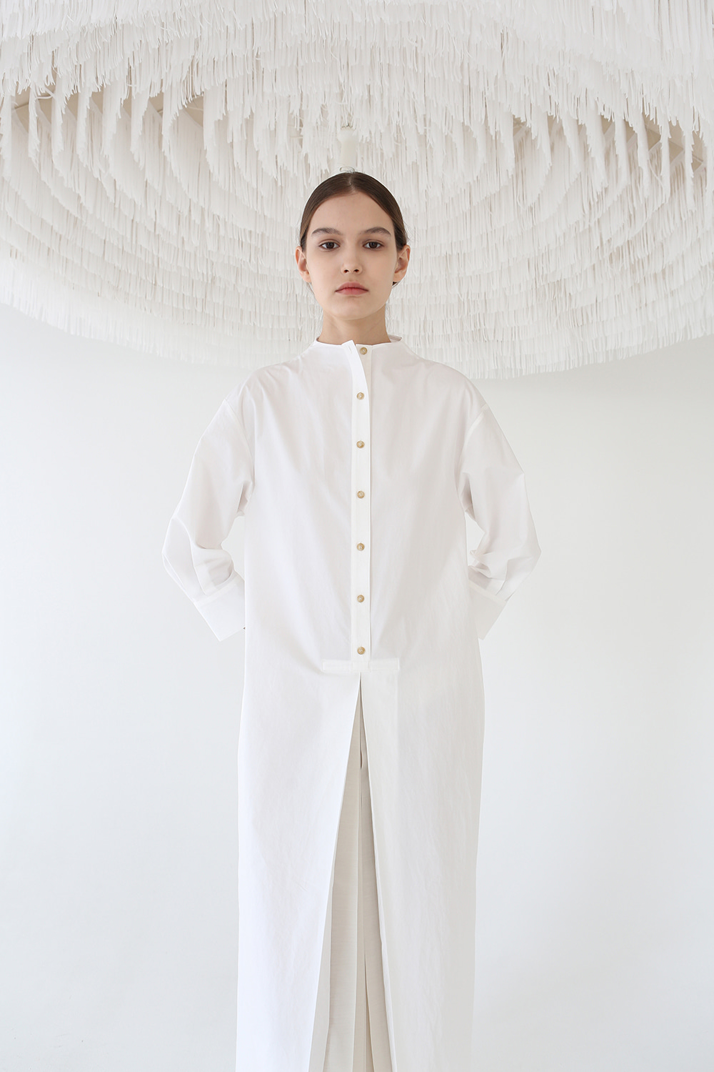 20SS SHEER PLEATED SHIRT DRESS