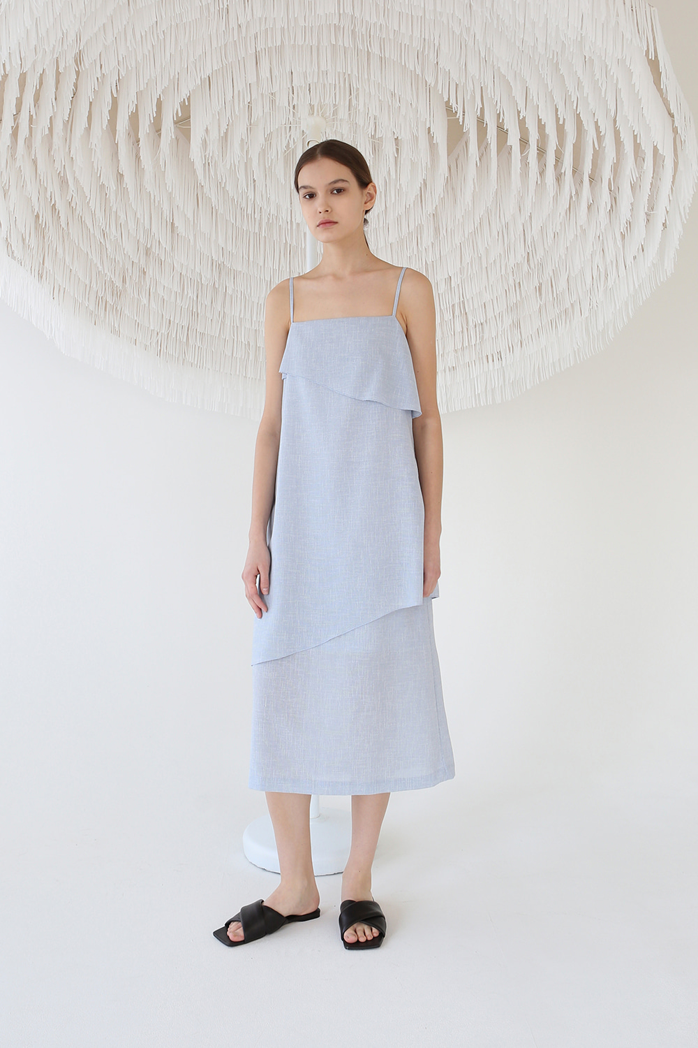 Textured Layer Strap Dress (light blue)