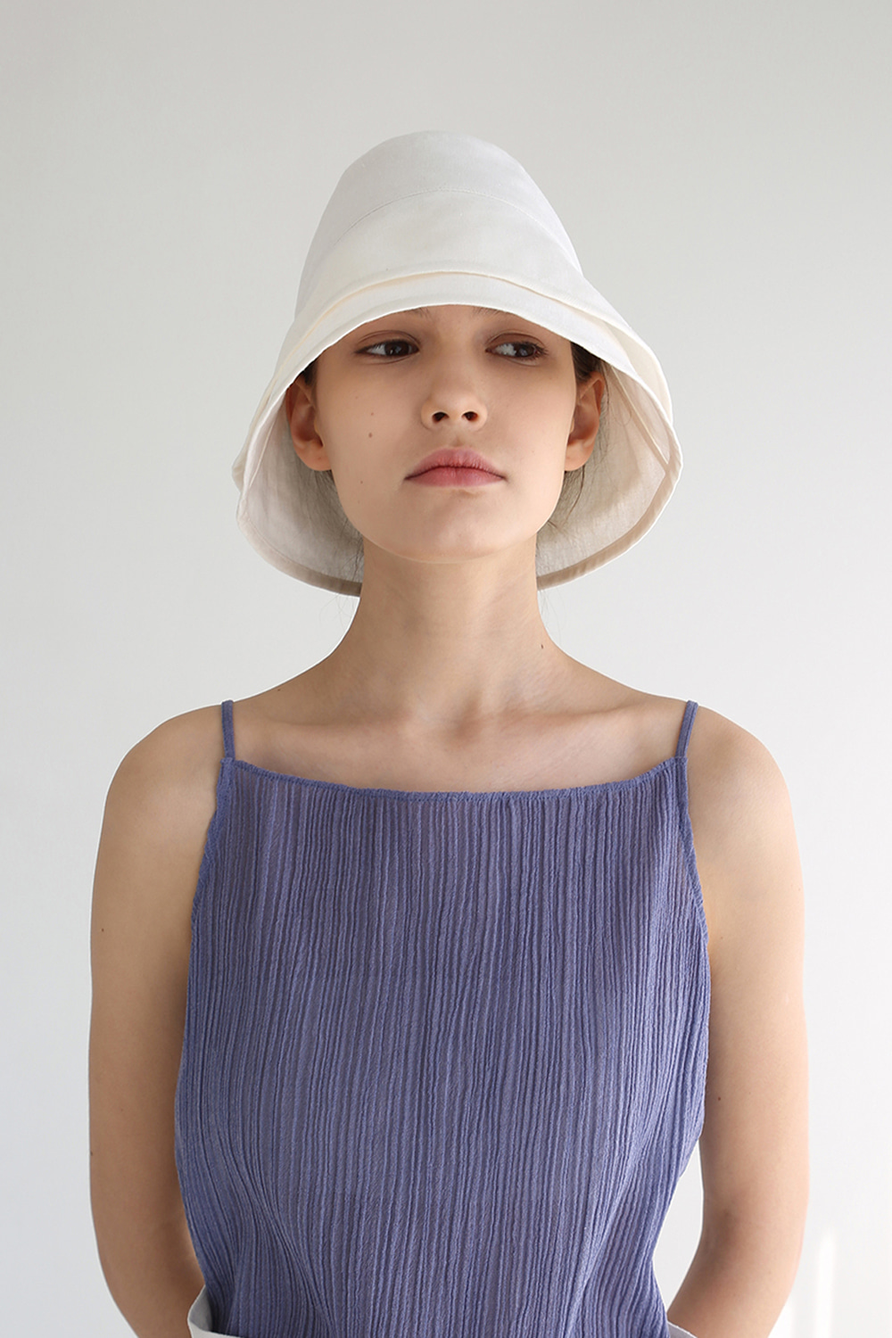 20SS LAYERED LINEN BUCKET HAT (IVORY)