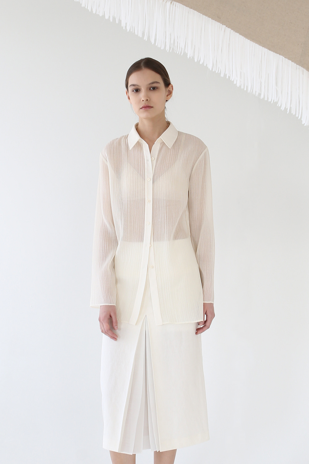 20SS CRINKLED SHEER LONG SHIRT