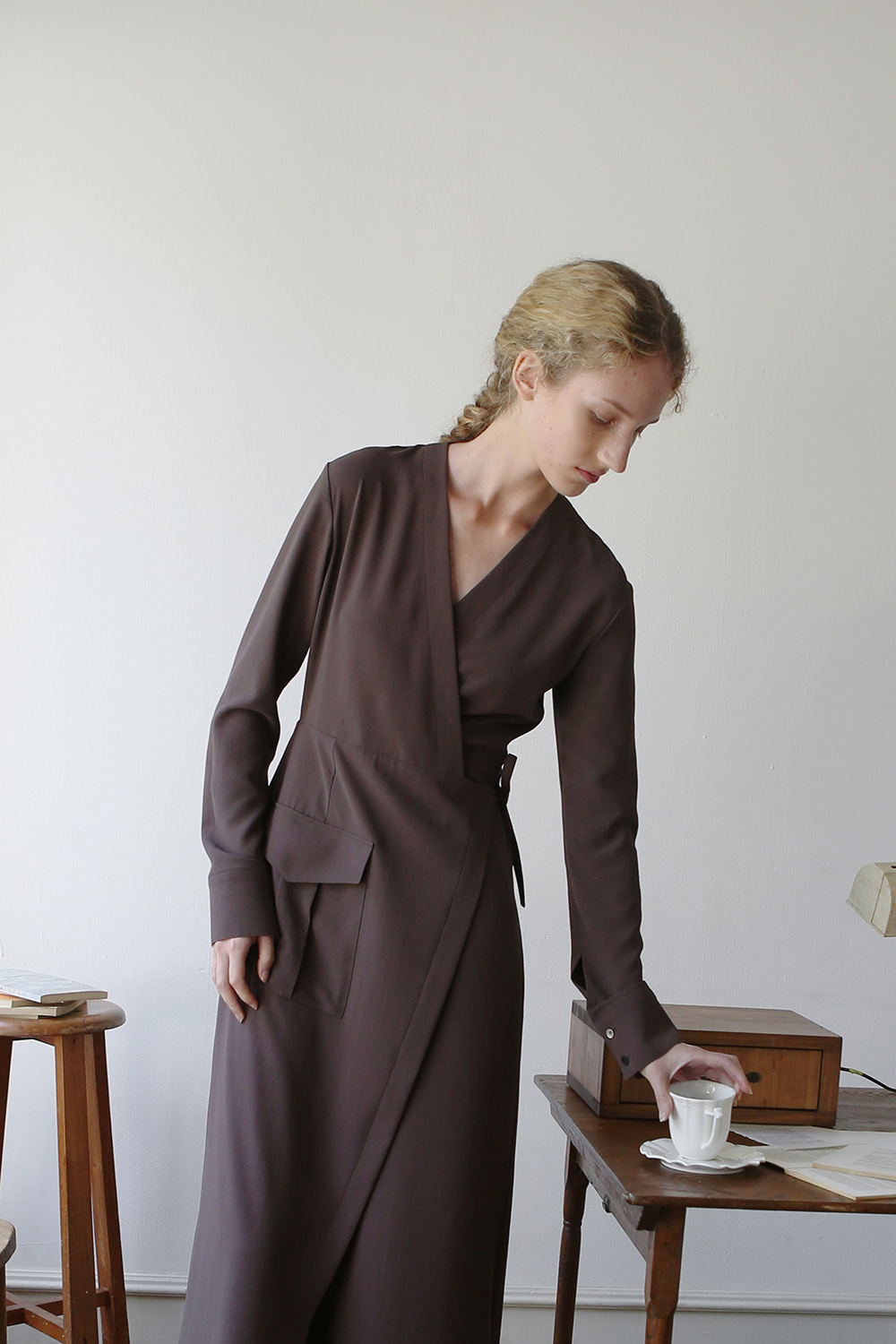 Helen Wrap Dress (brown)